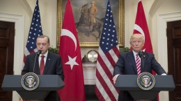 US President Donald J. Trump (R) and President of Turkey Recep Tayyip Erdogan (L) deliver joint statements in the Roosevelt Room of the White House in Washington, DC, USA, 16 May 2017. Trump and Erdogan face the issue of working out cooperation in the fight against terrorism as Turkey objects to the US arming of Kurdish forces in Syria. EPA, MICHAEL REYNOLDS