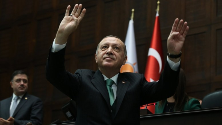 A handout photo made available by the Turkish Presidential Press Office shows Turkish President Recep Tayyip Erdogan adressing members of ruling Justice and Development Party (AKP) at their group meeting at the parliament during a his group meeting in Ankara, Turkey, 13 January 2018. EPA TURKISH PRESIDENTAL PRESS OFFICE HANDOUT HANDOUT EDITORIAL USE ONLY, FILE PHOTO