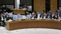 Syria's Deputy U.N. Ambassador Mounzer Mounzer (L) speaks while Russia's Deputy Ambassador to the United Nations Vladimir Safronkov (Far-Right) listens during a Security Council meeting on the situation in Syria at UN headquarters in New York, New York, USA, 07 April 2017. EPA, JASON SZENES, FILE PHOTO