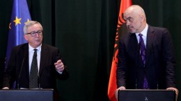 President of the European Commision Jean-Claude Juncker (L) and the Prime Minister of Albania Edi Rama (R) during a press conferece in Tirana, Albania, 25 February 2018. Juncker arrives to Albania for a two-day visit as part of his Balkan tour. EPA, MALTON DIBRA
