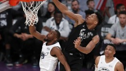 Greek player Gianni Antetokounmpo (C) of Team Stephen makes a lay-up over Kemba Walker (L) of Team Lebron as teammate Russell Westbrook (R) looks on during the last seconds of the 2018 All-Star game at the Staples Center in Los Angeles, California, USA, 18 February 2018. EPA, MIKE NELSON