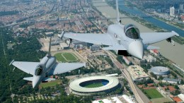 A handout file photo made available by Austrian Ministry of Defence showing two Eurofighter fighter planes flying past the Ernst-Happel-Stadium in Vienna. EPA, BMLV, ZINNER HANDOUT HANDOUT EDITORIAL USE ONLY/NO SALES