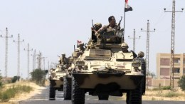 Armored personnel carriers (APC) of the Egyptian Army on patrol. FILE PHOTO. EPA,STR