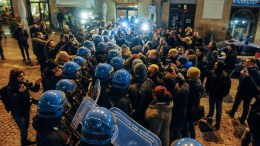 A moment of the clashes between the police and supporters of the Italian extreme right movement 'Forza Nuova' (New Force) in Macerata, Italy, 08 February 2018. EPA, FABIO FALCIONI