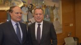 Ο τομεάρχης Εξωτερικών της Νέας Δημοκρατίας Γιώργος Κουμουτσάκος με τον Γάλλο πρέσβη Ρενέ Τροκάζ, ΑΠΕ-ΜΠΕ, Αρ. Βικέτος