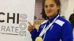 Η πρωταθλήτρια Ευρώπης  στο καράτε νέων γυναικών Kέλλυ Κυδωνάκη. Φωτογραφία ΑΠΕ-ΜΠΕ