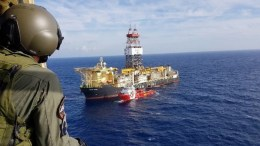 The Saipem 12000 off Cyprus for Eni's drilling campaign, Photo via Twitter, Georgios Lakkotrypis