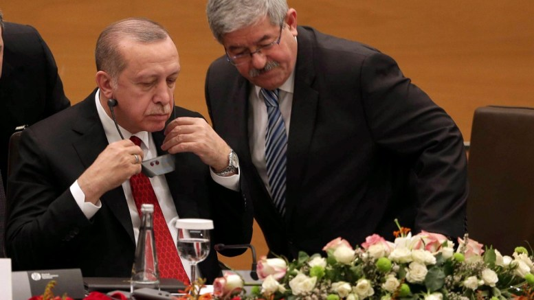 FILE PHOTO, President of Turkey Recep Tayyip Erdogan (R) speaks with Algerian Prime Minister Ahmed Ouyahia (L) during the Algerian-Turkish Business Forum in Algiers, Algeria, 27 February 2018. According to reports, Erdogan arrived in Algeria on a two-day visit as part of an African tour that will also take him to Mauritania, Senegal and Mali. EPA, TR