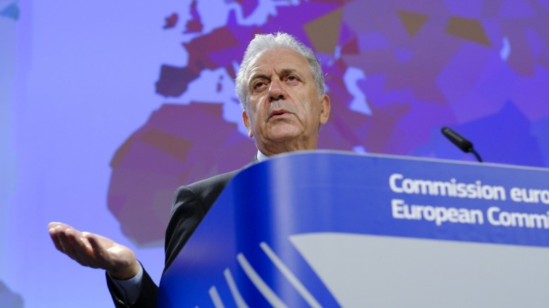 EU Commissioner for migration and home affairs Dimitris Avramopoulos gives a press conference On Visa Policy and Migration in Brussels, Belgium, 14 March 2017. EPA/OLIVIER HOSLET