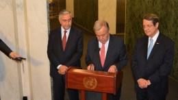 FILE PHOTO.  Ο Πρόεδρος της Κύπρου Νίκος Αναστασιάδης, ο Μουσταφά Ακιντζί με τον γ.γ. του ΟΗΕ Αντόνιο Γκουτέρες. Α.ΖΟΥΠΑΝΙΩΤΗΣ, ΚΥΠΕ