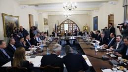 Ο Πρόεδρος της Δημοκρατίας κ. Νίκος Αναστασιάδης προεδρεύει σύσκεψης των αρχηγών των κοινοβουλευτικών κομμάτων για τα μη εξυπηρετούμενα δάνεια, 15 Μαρτίου 2018. ΚΥΠΕ, ΚΑΤΙΑ ΧΡΙΣΤΟΔΟΥΛΟΥ