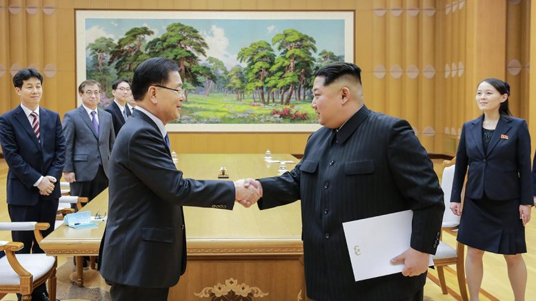 File Photo: A handout photo made available by the South Korean Presidential Office Cheong Wa Dae shows North Korean leader Kim Jong-un (front, R) shaking hands with Chung Eui-yong (front, L), the head of the South Korean presidential National Security Office, after their meeting at Kobangsan Guesthouse in Pyongyang, North Korea. EPA, SOUTH KOREAN PRESIDENTIAL OFFICE HANDOUT, EDITORIAL USE ONLY