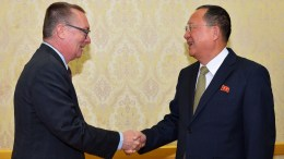 File Photo: A photo released by the North Korean Central News Agency (KCNA), the state news agency of North Korea, shows North Korean Foreign Minister Ri Yong-ho (R) greeting UN Undersecretary-General for Political Affairs Jeffrey Feltman in Pyongyang. EPA,KCNA EDITORIAL USE ONLY