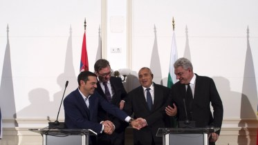 File Photo: Bulgarian Prime Minister Boyko Borisov (2R), Romanian Prime Minister Mihai Tudose (R), Serbian President Alexander Vucic (2L), and Greece's Prime Minister Alexis Tsipras (L) attend a press conference during the Quadrilateral Summit Greece-Bulgaria-Romania-Serbia, at Evsinograd Palace in Varna, Bulgaria . EPA, VASSIL DONEV