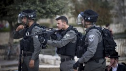 FILE PHOTO: Israeli border police stand guard at the scene of the stabbing attack carried out by Palestinian man, against Israeli Jews in the alleys of the old city of Jerusalem, 01 April 2017. According to reports, two people and one policeman were injured when a 17-year-old Palestinian carried a stabbing attack. The suspect was shot dead by police. EPA,ABIR SULTAN