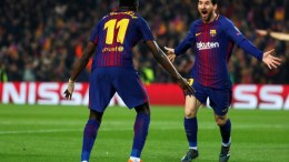 Barcelona's Lionel Messi (R) and teammate Ousmane Dembele celebrate a goal during the UEFA Champions League Round of 16, second leg soccer match between FC Barcelona and Chelsea FC at Nou Camp stadium in Barcelona, Spain, 14 March 2018. EPA.ALEJANDRO GARCIA
