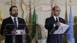 Italian Foreign Minister Angelino Alfano and Lebanese Prime Minister Saad Hariri during the final press conference of a ministerial meeting entitled 'Lebanon, building trust: a viable security for the country and the region' at Farnesina, Rome, Italy, 15 March 2018. EPA, FABIO FRUSTACI
