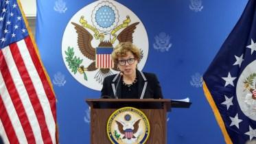 Η Πρέσβειρα των ΗΠΑ Kathleen Doherty  σε δημοσιογραφική διάσκεψη, Λευκωσία 14 Μαρτίου 2018.ΚΥΠΕ, ΚΑΤΙΑ ΧΡΙΣΤΟΔΟΥΛΟΥ