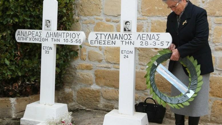 File Photo: Τρισάγιο στα Φυλακισμένα Μνήματα για την εθνική επέτειο της 1ης Απριλίου 1955. Φωτογραφία Σ. Ιωαννιδης, ΓΤΠ