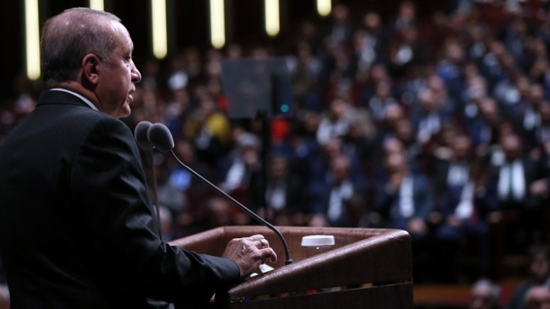 President Erdogan speaking at the Court of Cassation's 150th Anniversary Symposium. Photo via Turkish Prsidency.