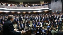 Ο πρόεδρος Ταγίπ Ερντογάν απευθύνεται στους οπαδούς του. Φωτογραφία Τουρκική Προεδρία
