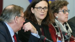 European Commissioner for Trade Cecilia Malmstrom (C) with members of her delegation attends a meeting with US trade representative Robert Lighthizer and Japan's Economy Minister Hiroshige Seko (both unseen) at the European Commission headquarters in Brussels, Belgium, 10 March 2018. EPA, STEPHANIE LECOCQ,  POOL