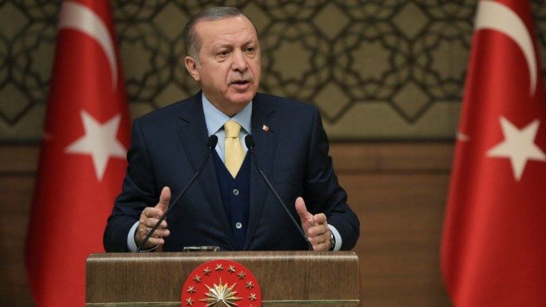 A handout photo made available by the Turkish Presidential Press Office shows Turkish President Recep Tayyip Erdogan speaking during the 44th Mukhtars Meeting in Ankara, Turkey. EPA, TURKISH PRESIDENTAL PRESS OFFICE