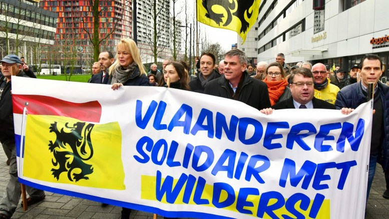 File Photo: Flemish right-wing 'Vlaams Belang' (VB) party leader Filip Dewinter (C), from Belgium, joins a protest march of the Dutch 'Partij voor de Vrijheid (PVV), or 'Party for the Freedom'. EPA, ROBIN UTRECHT