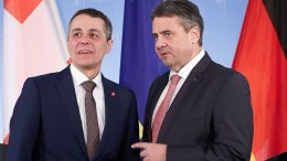 Swiss Foreign Minister Ignazio Cassis and German Minister of Foreign Affairs Sigmar Gabriel of the Social Democratic Party (SPD) look on after a joint press conference at the Federal Foreign Office in Berlin, Germany. EPA, HAYOUNG JEON