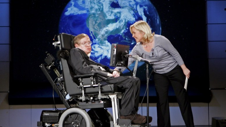 Professor Stephen Hawking (L) is seen with his daughter Lucy Hawking (R) during a presentation at the The George Washington University in Washington, DC, USA, 21 April 2008 (reissued 14 March 2018). British renowned physicist Stephen Hawking has died on early morning of 14 March 2018 at the age of 76, his family announced. EPA, STEFAN ZAKLIN