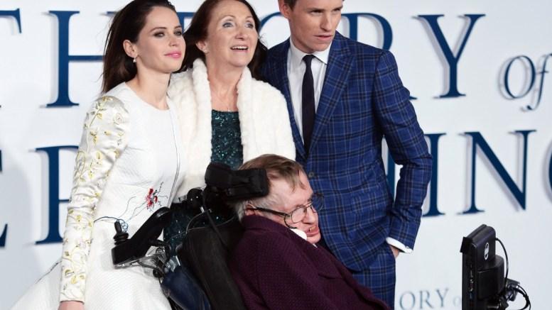 File Photo: British actress Felicity Jones, ex-wife of Stephen Hawking, Jane Wilde Hawking, British physicist Stephen Hawking, and British actor Eddie Redmayne. EPA, FACUNDO ARRIZABALAGA