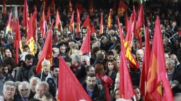 File Photo: Συγκέντρωση διαμαρτυρίας και πορεία του ΚΚΕ στο αμερικανικό προξενείο με αφορμή τις εξελίξεις στα Βαλκάνια, τη Μ. Ανατολή, την Αν. Μεσόγειο, τις ελληνοτουρκικές σχέσεις και το Κυπριακό. ΑΠΕ ΜΠΕ, PIXEL