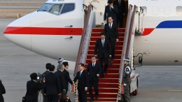 South Korean delegates arrive at a military airport in Seongnam, South Korea, 06 March 2018. South Korean President Moon Jae-in's special envoys returned after meeting with North Korean leader Kim Jong-un on 05 March during an official visit to Pyongyang. EPA, SONG KYUNG-SEOK , POOL