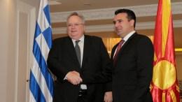 O υπουργός Εξωτερικών Νικόλαος Κοτζιάς συναντάται με τον πρωθυπουργό της ΠΓΔΜ Ζοραν Ζαεφ (Zoran Zaev), Παρασκευή 23 Μαρτίου 2018. ΑΠΕ-ΜΠΕ, pool, Παντελής Σαίτας, pool