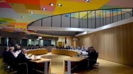 O υπουργός Εξωτερικών Νίκος Κοτζιάς στο γεύμα εργασίας των υπουργών Εξωτερικών της Ευρωπαϊκής Ένωσης και της Δημοκρατίας της Κορέας στις Βρυξέλλες. Φωτογραφία via υπουργείο Εξωτερικών