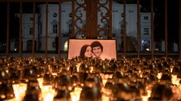 Candles are placed during a march in memory of murdered Slovak journalist Jan Kuciak in front of the Slovak government building in Bratislava, Slovakia, 28 February 2018. EPA, MATEJ KALINA
