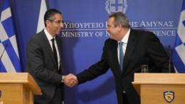 Ο υπουργός Εθνικής Άμυνας, Πάνος Καμμένος (Δ), συναντήθηκε με τον νέο Υπουργό Άμυνας της Κυπριακής Δημοκρατίας, Σάββα Αγγελίδη (Α), στο Υπουργείο Εθνικής Άμυνας στην Αθήνα, Παρασκευή 23 Μαρτίου 2018. ΑΠΕ-ΜΠΕ,  ΓΡΑΦΕΙΟ ΤΥΠΟΥ ΥΠΕΘΑ,  STR