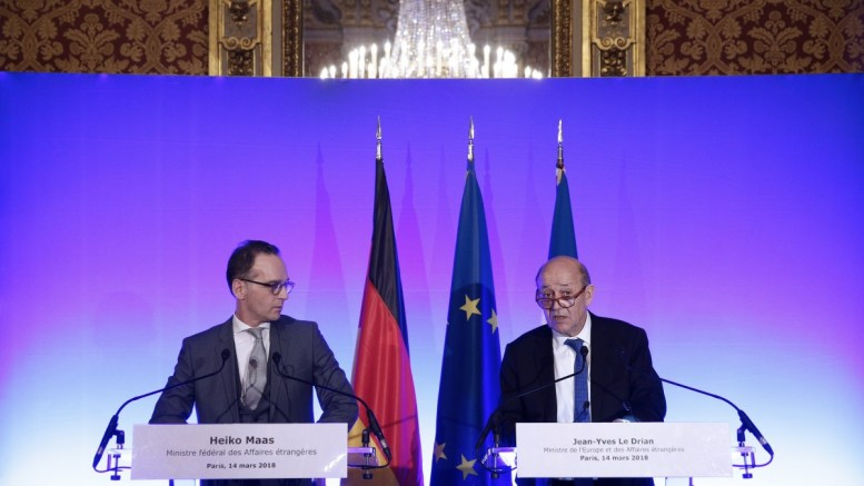 French Minister for Foreign Affairs Jean-Yves Le Drian (R) and his German counterpart Heiko Maas (L) hold a press conference at Quai d'Orsay in Paris, France, 14 March 2018. EPA, YOAN VALAT