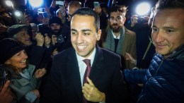 5-Star Movement's leader and candidate for the post of Italian Prime Minister, Luigi Di Maio celebrates with his supporters in Volla , Italy, 06 March 2018. EPA, CESARE ABBATE