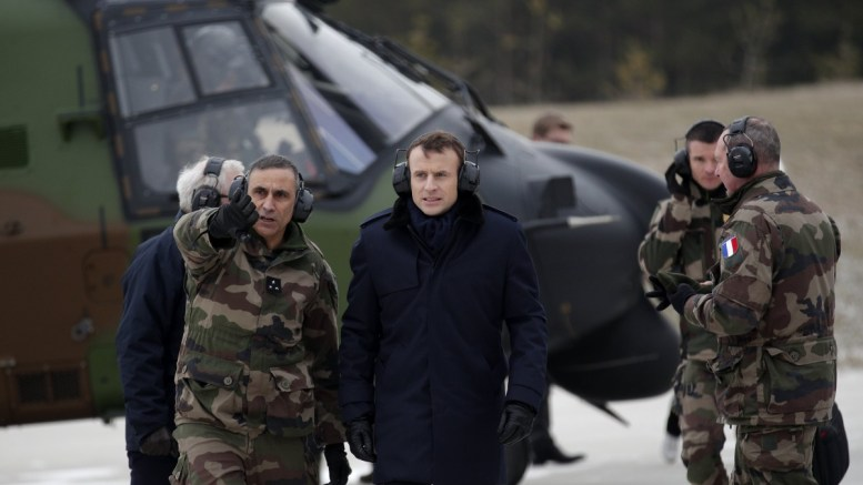 File Photo: French President Emmanuel Macron (C), French General Jean-Pierre Bosser, Chief of Staff of the French land forces (chef d'etat-major de l'armee de terre, CEMAT) (R) arrive to attend a military exercise at the military camp of Suippes, near Reims, France. EPA, YOAN VALAT / POOL MAXPPP OUT