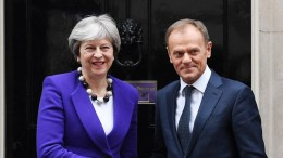 FILE PHOTO.  British Prime Minister Theresa May (L) welcomes President of the European Council Donald Tusk (R) to 10 Downing Street in London, Britain. EPA, ANDY RAIN
