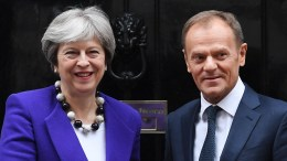 British Prime Minister Theresa May (L) welcomes President of the European Council Donald Tusk (R) to 10 Downing Street in London, Britain, 01 March 2018. Theresa May plans to make a major speech on British relations with the EU after Brexit on 02 March 2018. EPA, ANDY RAIN