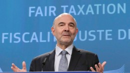 File Photo: Pierre Moscovici, the European Commissioner for Economic and Financial Affairs, Taxation and Customs gives a press conference in Brussels, Belgium. EPA, OLIVIER HOSLET