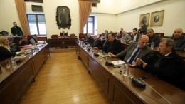 File Photo: Ο πρόεδρος της Βουλής Νίκος Βούτσης (Κ) προεδρεύει στην έκτακτη Διάσκεψη των Προέδρων της Βουλής για την υπόθεση NOVARTIS. ΑΠΕ-ΜΠΕ, ΣΥΜΕΛΑ ΠΑΝΤΖΑΡΤΖΗ