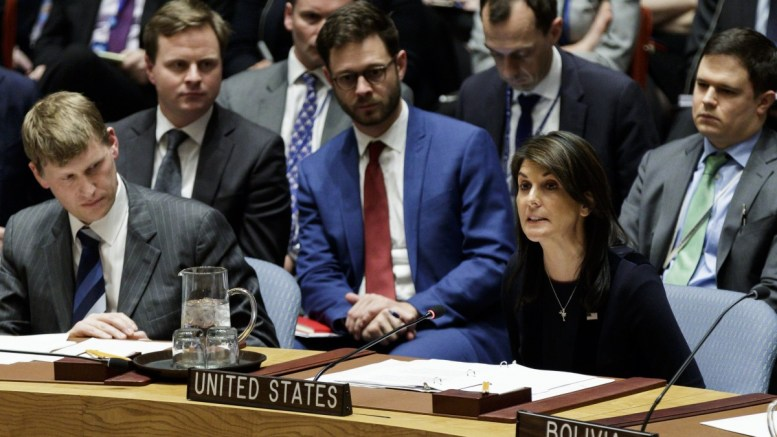 United States' Ambassador to the United Nations Nikki Haley (R) speaks as Ambassador Jonathan Allen (L), the United Kingdom's Charge d'Affaires, listens during an United Nations Security Council meeting called by the United Kingdom to discuss an investigation, which is related to a recent chemical attack that sickened two people, at United Nations headquarters in New York, New York, USA, 14 March 2018.  EPA, JUSTIN LANE