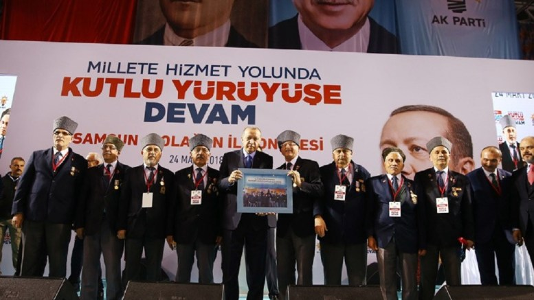 President and AK Party Chairman Recep Tayyip ErdoÄŸan delivered a speech at the Samsun Provincial Congress of the Justice and Development (AK) Party. Photo via Turkish Presidency