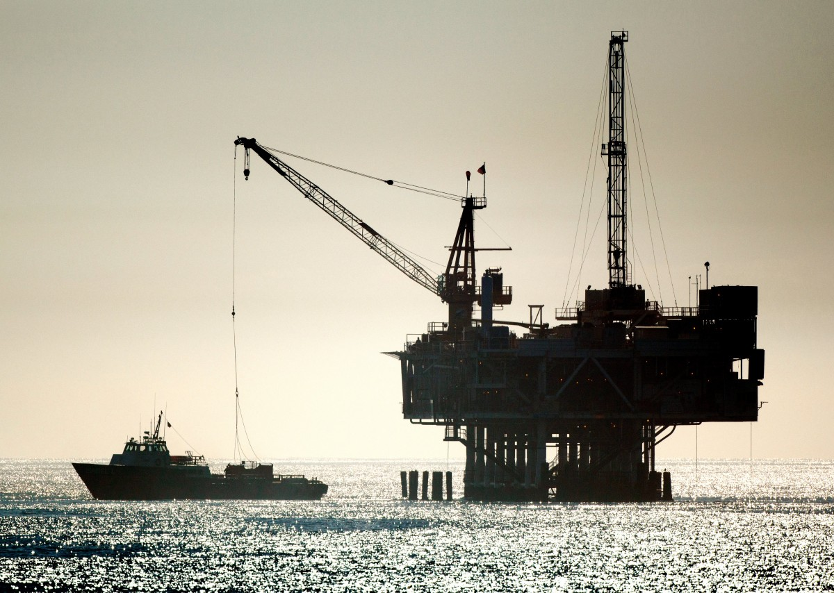 File Photo: An oil drilling rig is seen off the Pacific Ocean coastline after the Trump administration announced plans to dramatically expand offshore drilling Seal Beach, California, USA. EPA, EUGENE GARCIA