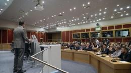 Ο υπουργός Ψηφιακής Πολιτικής Νίκος Παππάς μιλάει στην παρουσίαση του νέου Ελληνικού Διαστημικού Οργανισμού (ΕΛΔΟ), Αθήνα.  ΑΠΕ-ΜΠΕ, ΓΡΑΦΕΙΟ ΤΥΠΟΥ ΨΗΠΤΕ/STR