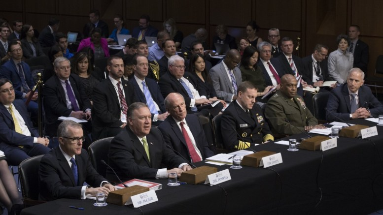 File Photo: Intelligence leaders appear before the Senate Select Committee on Intelligence hearing on 'World Wide Threats', on Capitol Hill in Washington, DC. In this picture (L to R); Acting FBI Director Andrew McCabe, former CIA Director Mike Pompeo, Director of National Intelligence Daniel Coats, National Security Agency Director Admiral Mike Rogers, Defense Intelligence Agency Director Lieutenant General Vincent Stewart and National Geospatial-Intelligence Agency Director Robert Cardillo. EPA, MICHAEL REYNOLDS