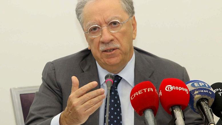 Ο πρόεδρος της Lyktos Group Μιχάλης Σάλλας κατά τη διάρκεια  συνέντευξης τύπου με αφορμή την είσοδο της Lyktos Participations A.E. ως στρατηγικού επενδυτή στην Παγκρήτια Συνεταιριστική Τράπεζα.  ΑΠΕ-ΜΠΕ, ΠΑΓΚΡΗΤΙΑ ΤΡΑΠΕΖΑ, STR